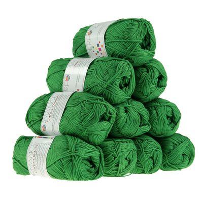 10 x 50g Strickgarn Cotton Queen, #0147 waldgrün – Bild 1