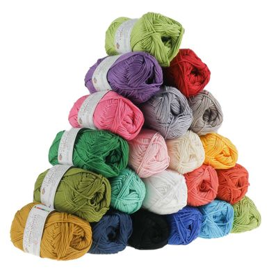 10 x 50g Strickgarn Cotton Queen, #0147 waldgrün – Bild 3