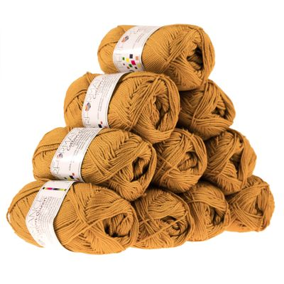 10 x 50g Strickgarn Cotton Queen, #0190 ocker