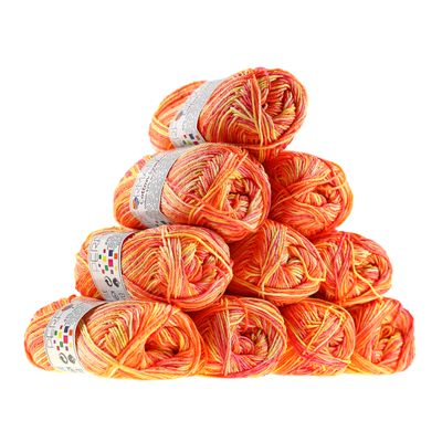 10 x 50g Strickgarn Wolle Cotton Symbiosis  #9032 gelb- beige- orange – Bild 1