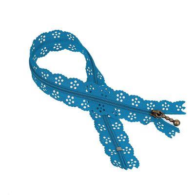 1 Spitzen-Reißverschluss Reissverschluss Spitzenreißverschluss 30cm, blau – Bild 3