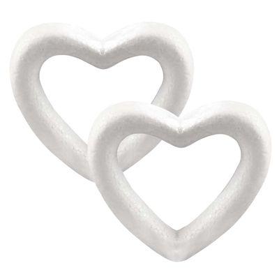 2 Styropor Herzen 10,5 x 11 cm Styroporherz Polysterol-Herz weiß – Bild 1
