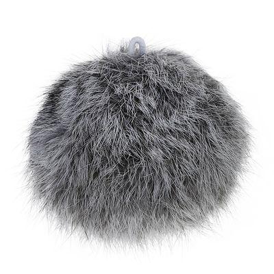 1 Fellbommel / Pelzbommel Kaninchen ca. 8 cm grau Dekoration für Mützen, Taschen – Bild 1