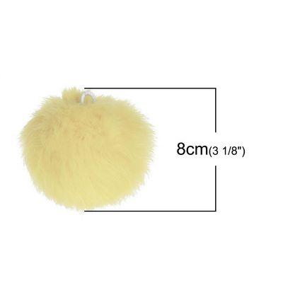 1 Fellbommel / Pelzbommel Kaninchen ca. 8 cm pastellgelb – Bild 2
