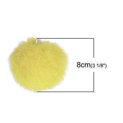 1 Fellbommel / Pelzbommel Kaninchen ca. 8 cm gelb Bommel echt – Bild 2