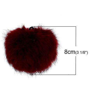 1 Fellbommel / Pelzbommel Kaninchen ca. 8 cm bordeauxrot – Bild 2