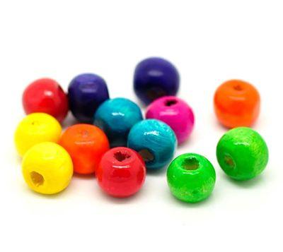 1000 bunte Holz-Perlen 8x6 mm  – Bild 2