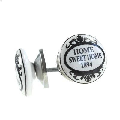 1 Möbelknopf, Möbelgriff, Möbelknopf, Knauf Keramik 37 mm, Home Sweet Home #1111