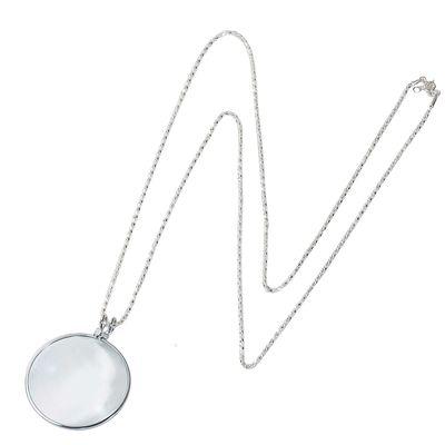 Halskette Schmucklupe, Lupenanhänger, Taschenlupe, 6-fach vergrößernd, silbern – Bild 1
