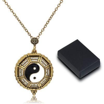 Yin-Yang Halskette Schmucklupe, Lupenanhänger, Taschenlupe, 5-fach vergrößernd, antikgold – Bild 1