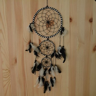 Traumfänger - Dreamcatcher BLACK & WHITE  16 cm & 2 x klein  – Bild 2