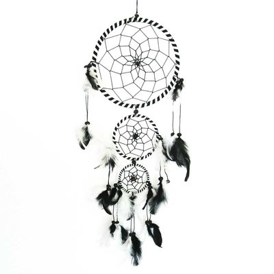 Traumfänger - Dreamcatcher BLACK & WHITE  16 cm & 2 x klein  – Bild 1
