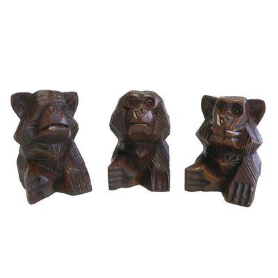 3 Weise Affen, nichts hören, sehen, sagen, Soar-Holz, ca. 10 cm handeschnitzt – Bild 3