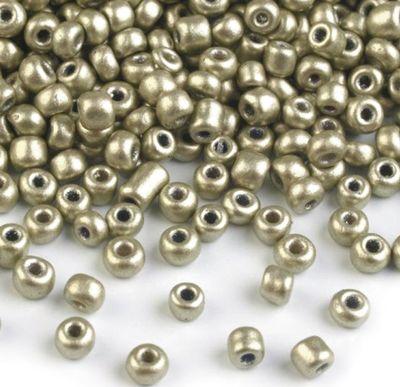 50g Rocailles Glasperlen 8/0 3mm, #18 graugold metallic