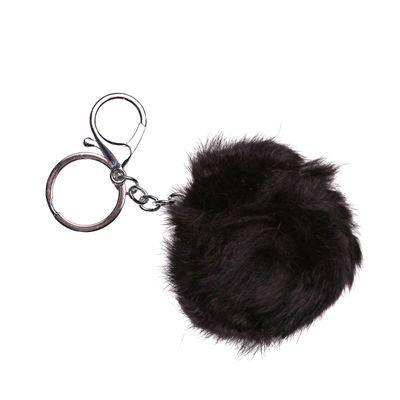 1 Kaninchen Fellbommel / Pelzbommel am Schlüsselring, ca. 8 cm  – Bild 2