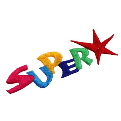 1 Applikation Aufbügler Aufnäher, Schriftzug SUPER mit Sternchen
