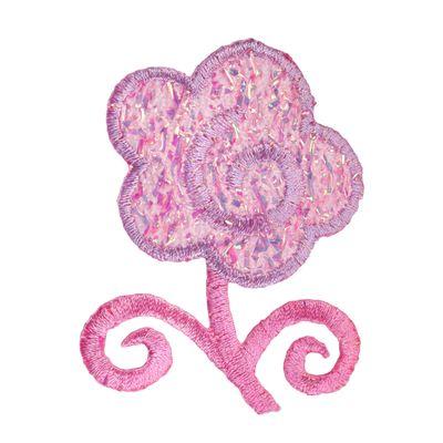 1 Applikation Aufbügler Aufnäher, Motiv Blume mit Glitter, rosa