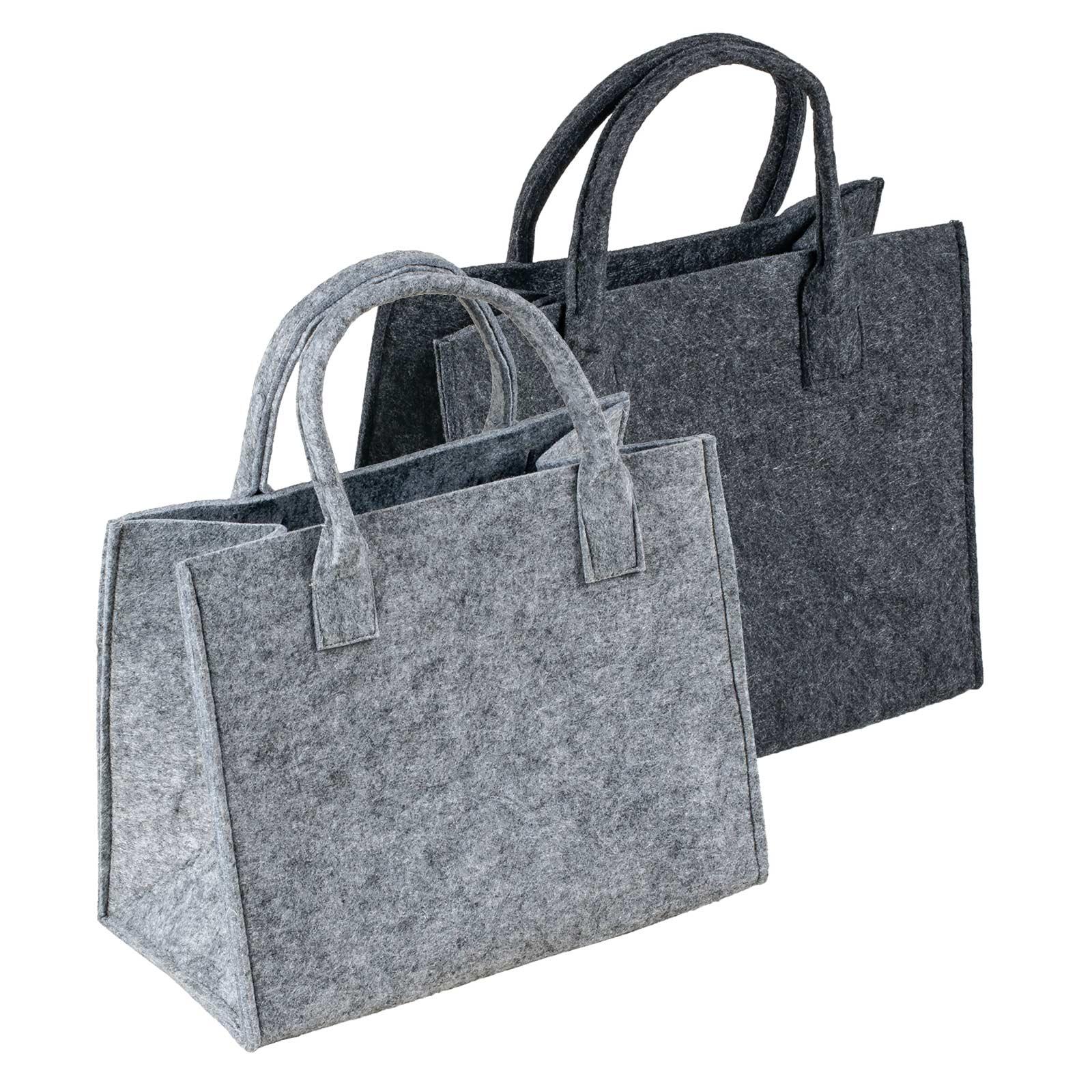 Filztasche mit Griff, 35x20x43cm, zum gleich Benutzen oder Aufhübschen, Grautöne – Bild 1