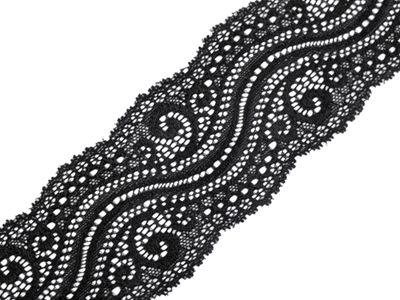 13,5m extravagante elastische Spitze, 65mm breit, #02 schwarz