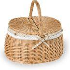 1 Zweideckelkorb Handkorb Weidenkorb oval mit Stoffüberzug, natur, 39x30x21/35cm 001