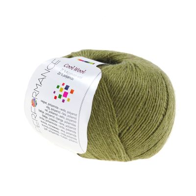 Strickgarn COOL WOOL 50g #153 olivgrün 75% Superwash Wolle – Bild 1