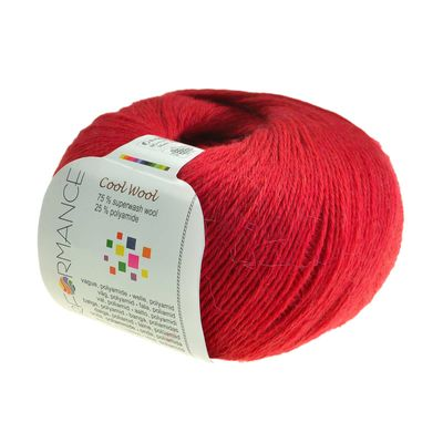 Strickgarn COOL WOOL 50g #19 rot 75% Superwash Wolle – Bild 1