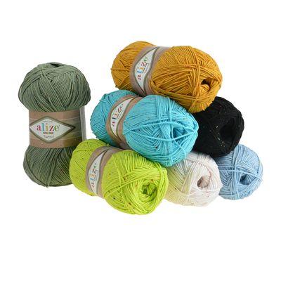 500g Strickgarn Alize Cotton Gold Tweed Wolle 57% Baumwolle veredelt freie Farbwahl – Bild 1