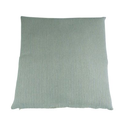 Kissenhülle Happy Stripes -  Fair Trade, 100% Baumwolle, 60x60cm, graublau, beige