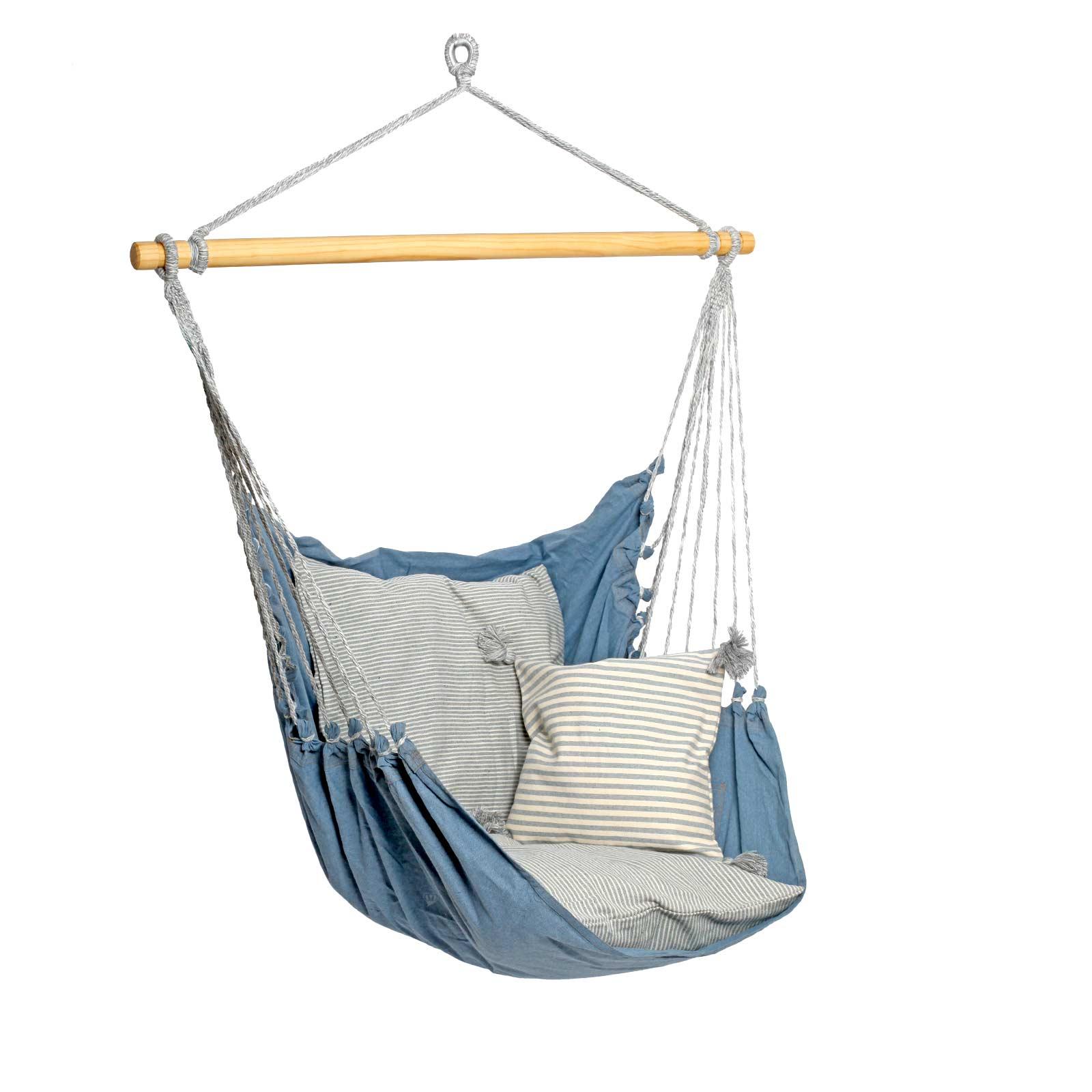 h ngesessel relax xl streifendesign baumwolle ohne kissen farbe jeans wohnen leben garten. Black Bedroom Furniture Sets. Home Design Ideas