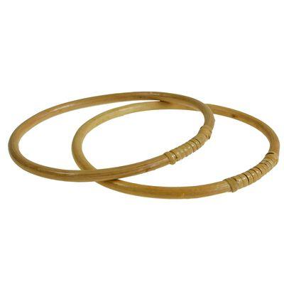 1 Paar Taschengriffe, Holz Bambus Ringe, Größenwahl 15 oder 17 cm, naturfarben – Bild 3