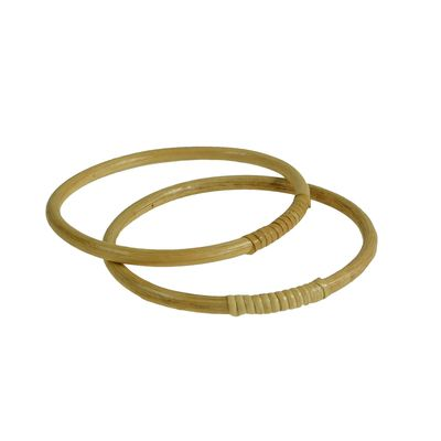 1 Paar Taschengriffe, Holz Bambus Ringe, Größenwahl 15 oder 17 cm, naturfarben – Bild 2