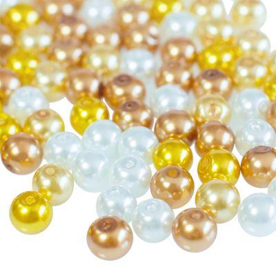 100 Glas-Perlen rund 8mm Fädelperlen Bastelperlen 8mm Farbmix – Bild 12