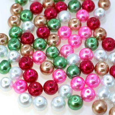 100 Glas-Perlen rund 8mm Fädelperlen Bastelperlen 8mm Farbmix – Bild 4