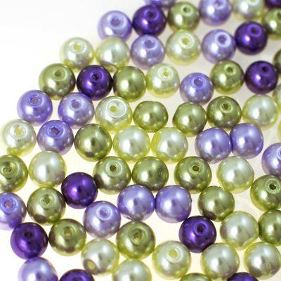100 Glas-Perlen rund 8mm Fädelperlen Bastelperlen 8mm Farbmix – Bild 6