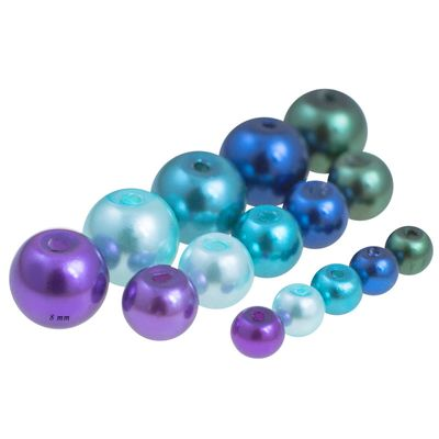 100 Glas-Perlen rund 8mm Fädelperlen Bastelperlen 8mm Farbmix – Bild 9