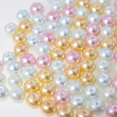 200 Glas-Perlen rund 6mm Fädelperlen Bastelperlen Glasperlen Farbmix – Bild 2