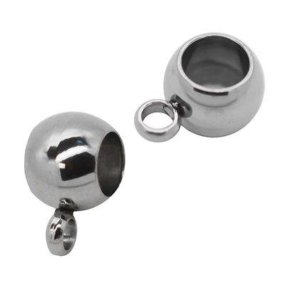 1 Charm Perlenanhänger Großlochperle - Highlight 5x9x6mm, Farbe edelstahl