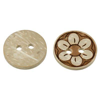 10 Holzknöpfe 1,5 cm, 2-Loch, Motiv Kokos Blume Blüte, braun – Bild 1
