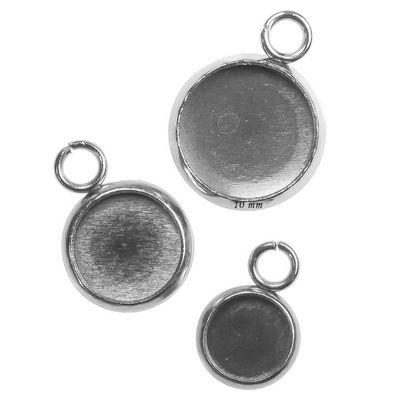 5 Anhänger m. Fassung f. 6, 8, 10 Cabochon, Edelstahl, verschiedene Größen – Bild 5