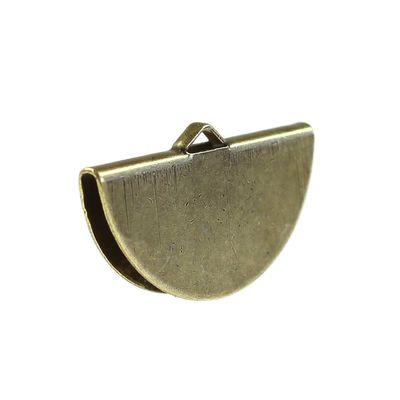 10 halbrunde Endkappen für Halskette oder Armband, 28 x 16mm, altmessing