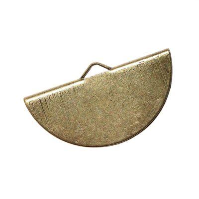 10 halbrunde Endkappen für Halskette oder Armband, 28 x 16mm, altmessing – Bild 2