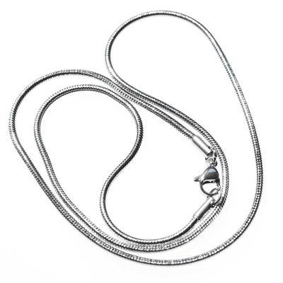 1 Edelstahl Schlangenkette Halskette 49cm lang Kette, silberfarbig – Bild 1