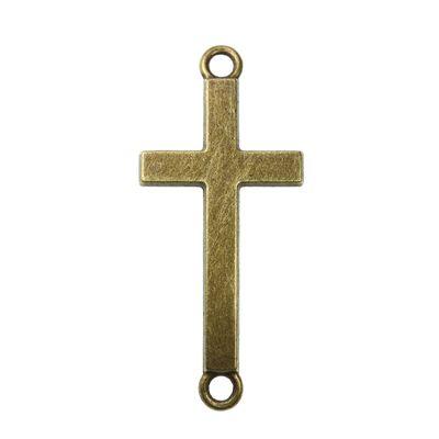 2 x Kreuz 3,7x1,6cm - Symbol Anhänger plattiert, antikbronze – Bild 1