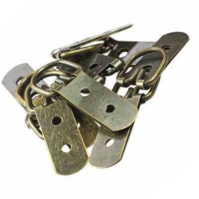 10 Bilderrahmen-Aufhänger 62x23mm, Eisenlegierung, bronze, D-Ring,  – Bild 2