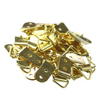 10 Bilderrahmen-Aufhänger 40x19mm, Eisenlegierung, vergoldet, Dreieck – Bild 2