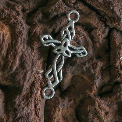 10 x Kreuz Verbinder 22x13mm - Symbol Anhänger, antiksilber – Bild 2