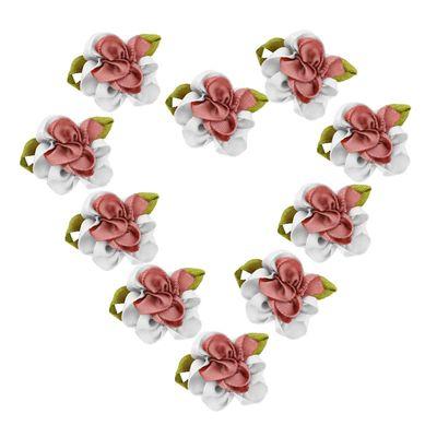 10 Textil-Blüten, Streu-Tisch-Deko Verzierung Applikation, verschiedenen Farben – Bild 15