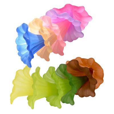 10 Blütenkelch-Perlen 41x35mm, Kelche, Lilien, Röcke, verschiedene Farben – Bild 1