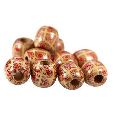 100 Holzperlen oval, 16~17x15~16mm, Bohrung 6~7mm, Motivwahl, gedruckt – Bild 9