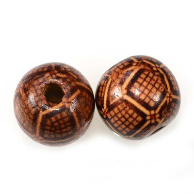 100 Holzperlen rund, 20x18mm, Bohrung 4~5mm, Motivwahl, gedruckt – Bild 4